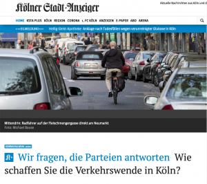 Kölner Stadtanzeiger: Parteien zur Verkehrswende