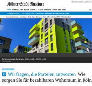 Kölner Stadtanzeiger Artikel: Parteien zum bezahlbaren Wohnraum